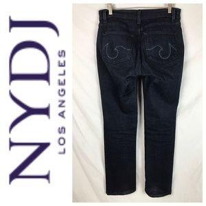 NYDJ Dark Indigo Wash Straight Fit High Rise Jeans